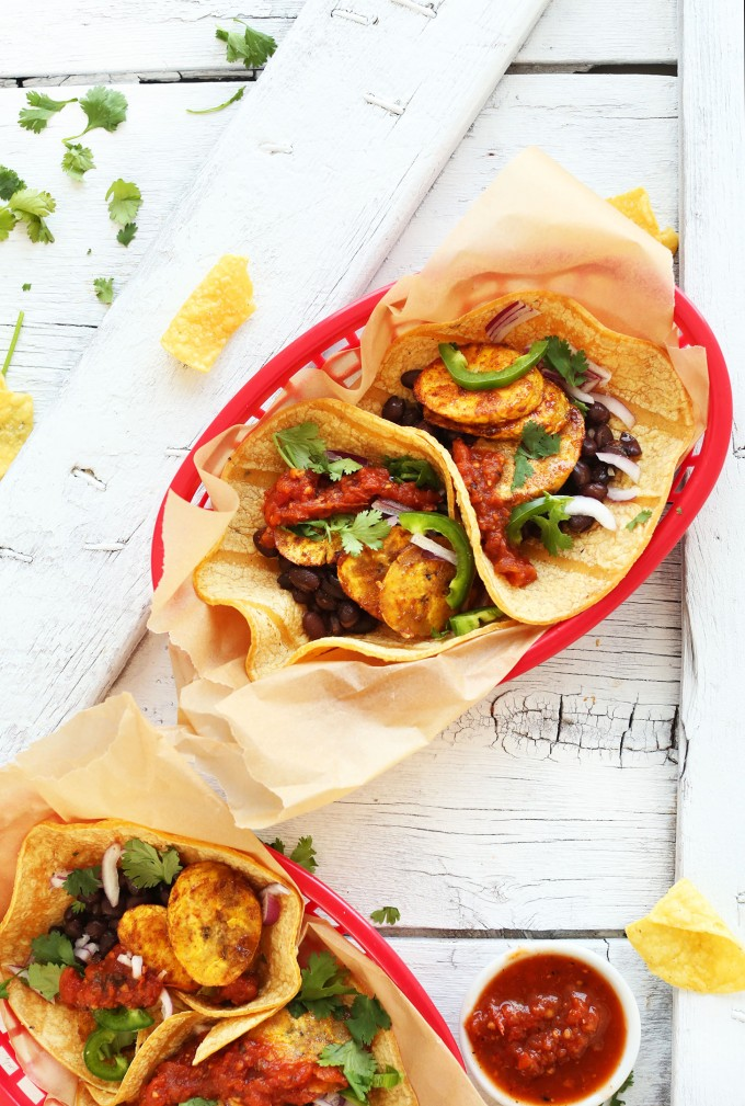 Spicy Plantain Black Bean Tacos! A 30 minute #plantbased meal that's so delicious and satisfying! #vegan #glutenfree #tacos #recipe